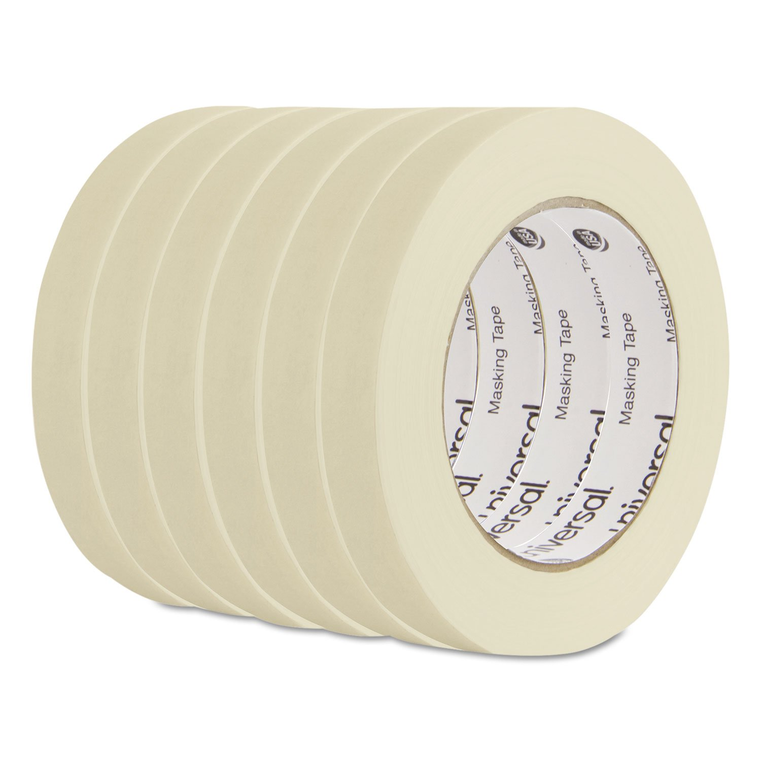 Universal UNV51334-51334-6 General Purpose Masking Tape, 60 yds Length x 3/4'' Width (Pack of 6)