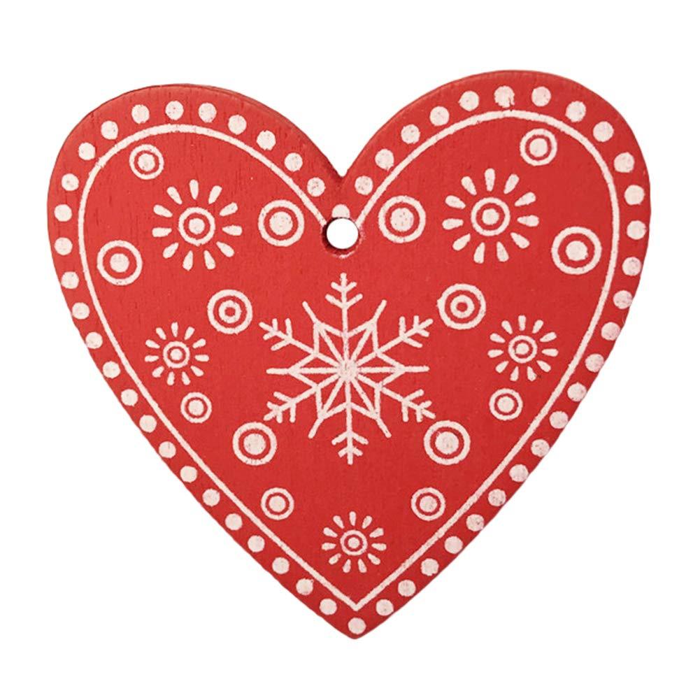 coraz/ón 10 Piezas de Madera Estrella de Navidad Whiie891203 Decoraciones Colgantes de Navidad Colgante de Adorno para /árbol de Navidad Copo de Nieve decoraci/ón del hogar y Fiesta