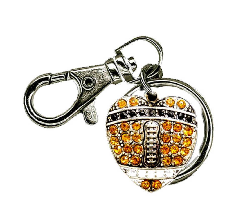NEW ORLEANS SAINTS or STEELERS Black & Gold Crystal Rhinestone Football Charm KEY CHAIN.Show Your Pride!
