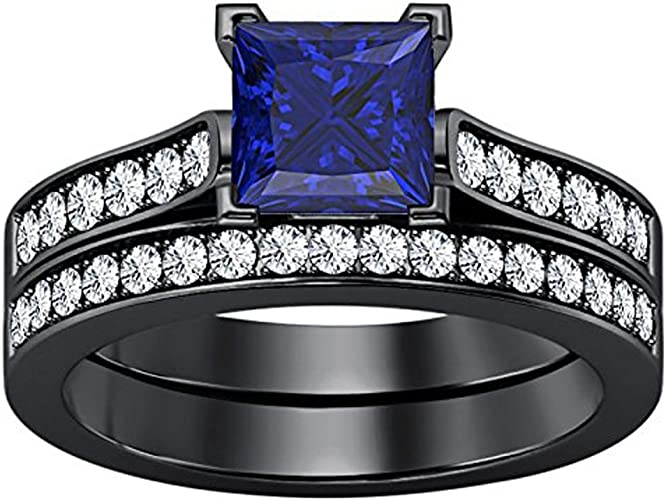 2.80 Ct Princess Cut White And Blue Sapphire Black Gold Finish Couple Engagement Wedding Band Ring 925 Sterling Silver Promise Ring