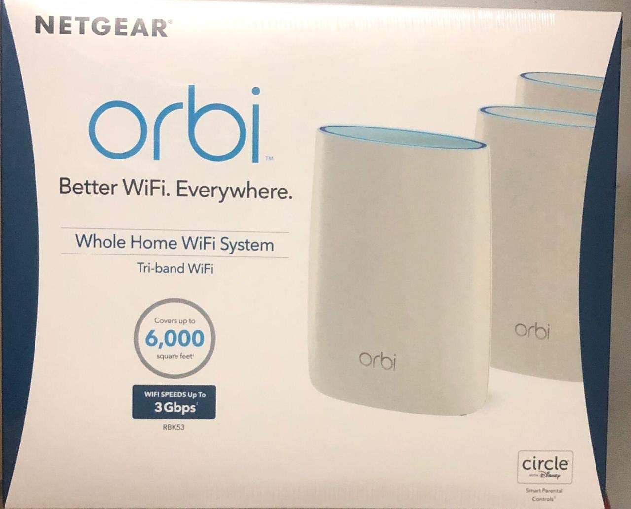Netgear RBK53 Orbi AC3000 Tri-band WiFi 3pack It covers homes up to 6000 square feet with strong WiFi signals