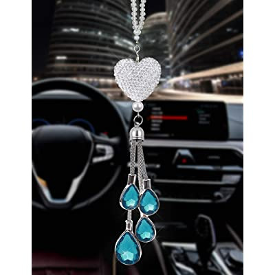 EZEYU Bling Car Rear View Mirror Charm,Crystal Sun Catcher Ornament,Car Charm Decoration,Rhinestone Hanging Ornament for Car & Home Decor (Liaht Blue): Automotive