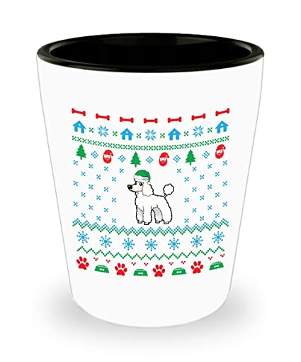 Amazoncom Poodle Dog Ugly Christmas Sweater Shot Glass Sayings