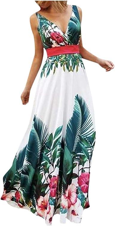 Mujer Vestido Largo Boho Vestidos Cuello en v Floral de Fiesta de ...