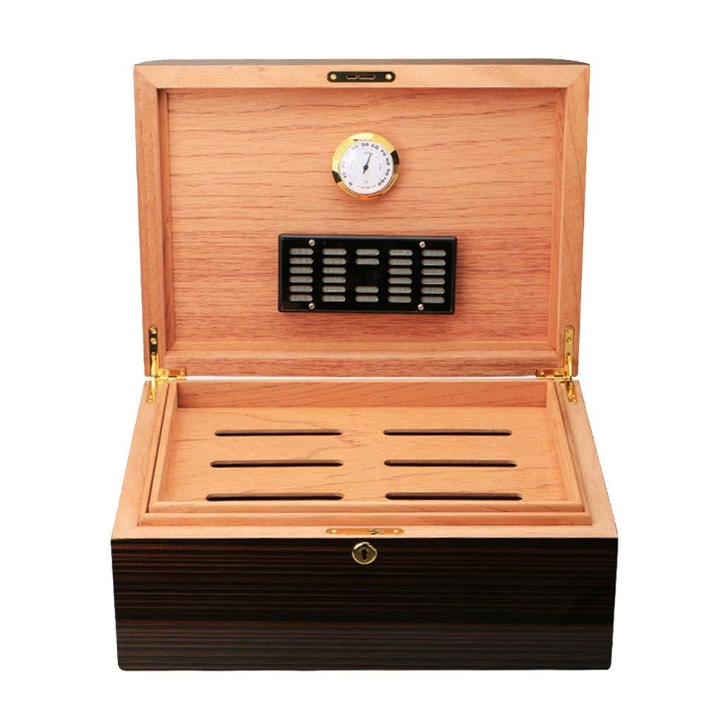 シガー加湿器100シガー加湿器シダーウッド加湿器シガー収納ボックスシガーボックス加湿器と温度計を装備 (Color : Brown, Size : 37*27.5*16cm) B07RNP7NGS Brown 37*27.5*16cm