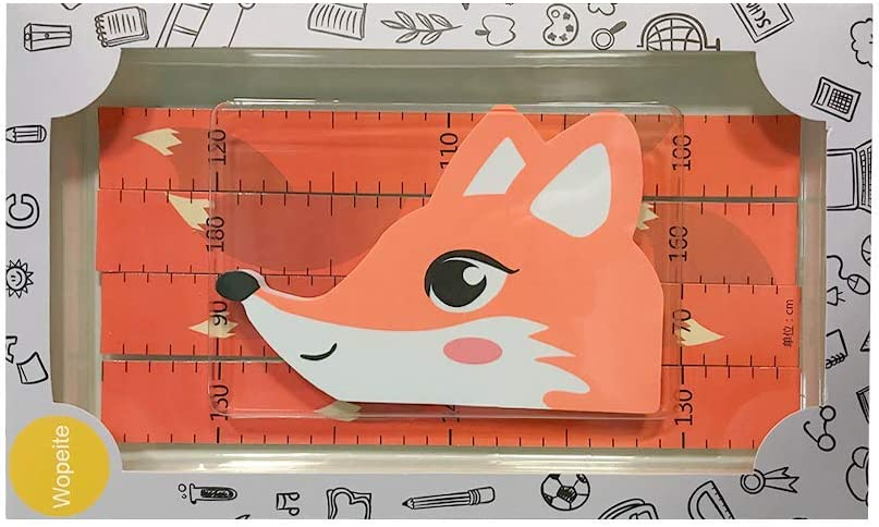 3D Height Ruler Growth Chart Removable Measurement Portable Writable Little Fox Wall Stickers EVA Header Decals Children/'s Room