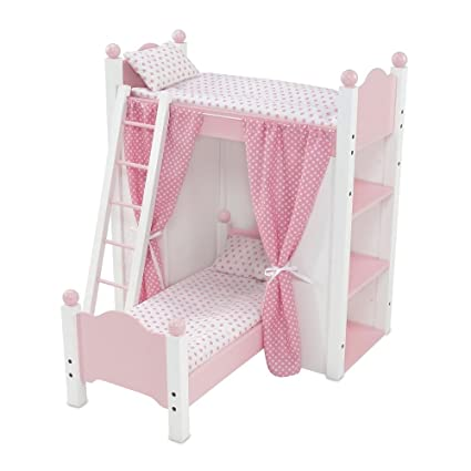 18 Inch Doll Bed Furniture White Loft Bunk Bed With Shelving Units And Angled Single Bed Includes Ladder Pink And White Polka Dot Bedding And
