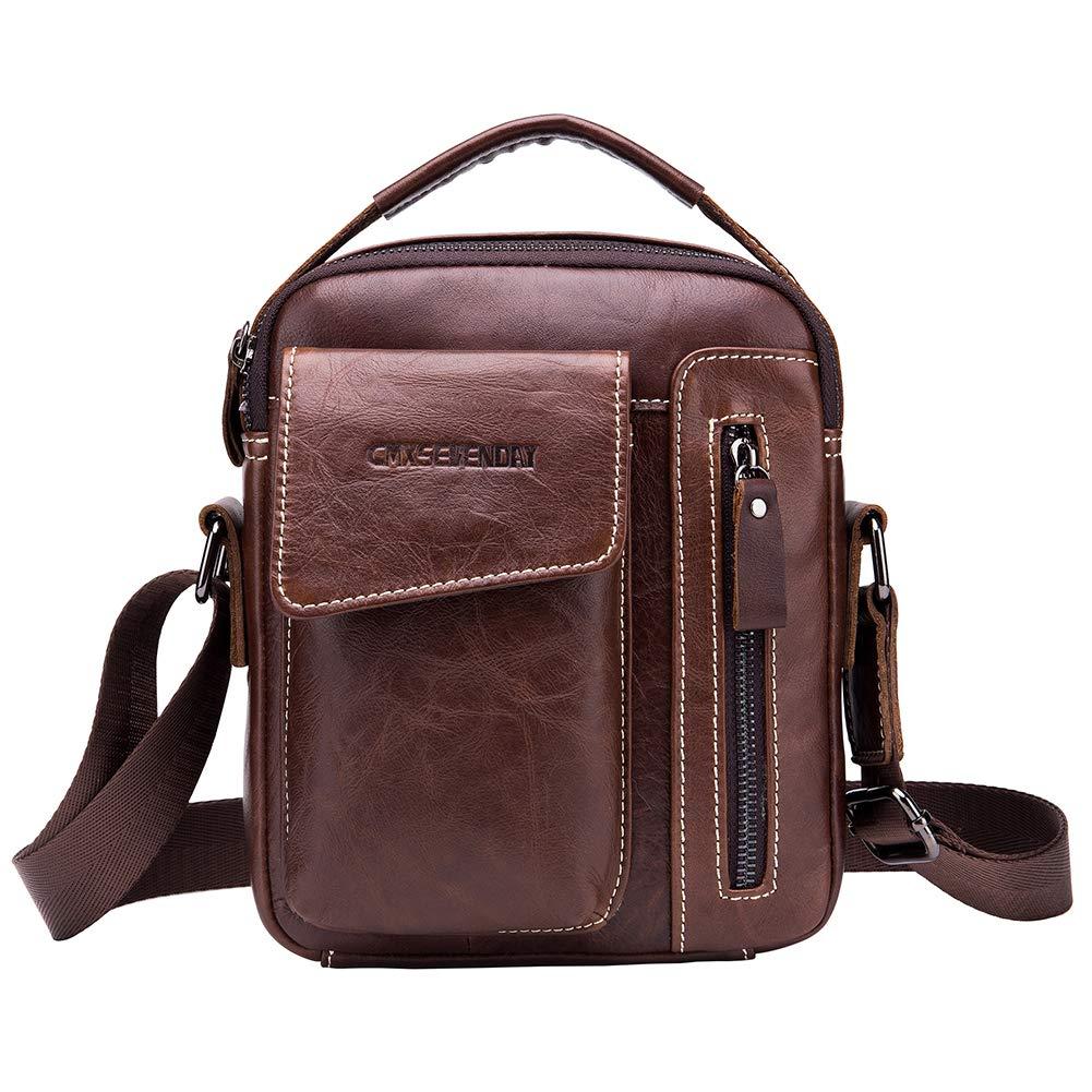 CMXSEVENDAY Kleine Herren Umhängetasche Echtes Leder Handtasche Schultertasche für Männer Sac bandoulière, 21 cm, Marron (Brown) A517