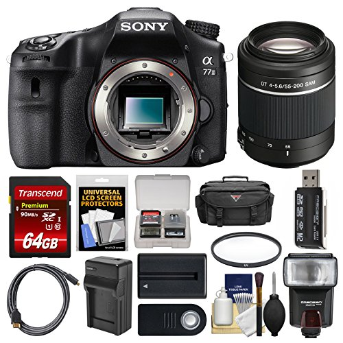 Sony Alpha A77 II Wi-Fi Digital SLR Camera Body with 55-200mm Lens + 64GB Card + Case + Flash + Battery & Charger + Kit