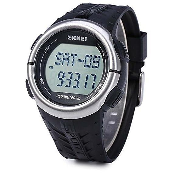 AODA Skmei 1058 Deportes al Aire Libre Unisex multifunción LED Reloj Podómetro LED Ritmo cardíaco Reloj