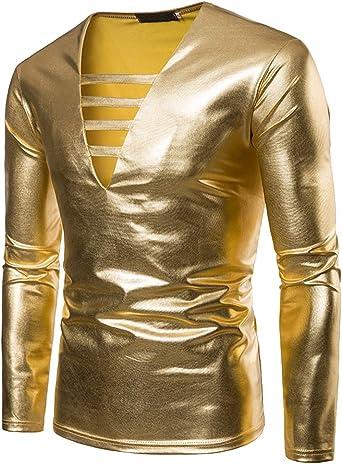 Mengmiao Hombre Casual Dorado Brillante Ajustado Club Nocturno Disfraz Baile Disco Camisa: Amazon.es: Ropa y accesorios