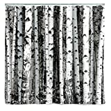 Tree Shower Curtain Kikkerland Shower Curtain, Polyester, Birch
