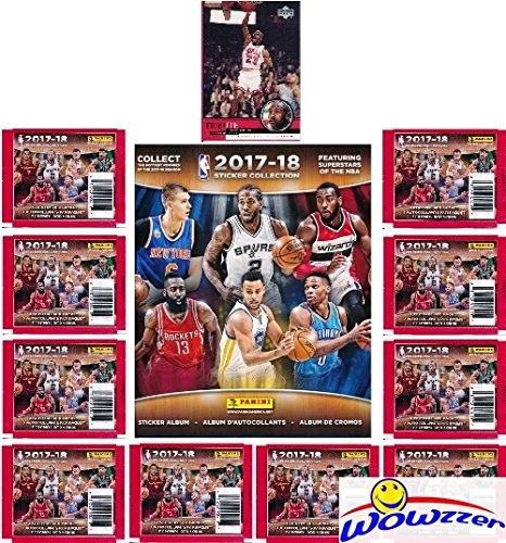 2017/18 Panini NBA Basketball Stickers EXCLUSIVE WOWZZER Special Collectors Package with 10 Sticker Packs & 72 Page Collectors Album!  Plus Bonus of Vintage Michael Jordan Chicago Bulls Card! ()