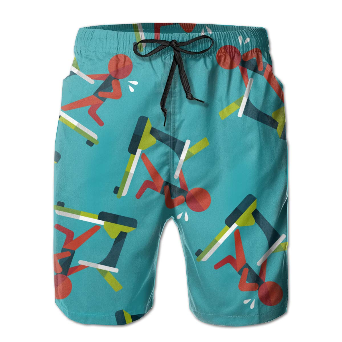 Treadmill Mens Summer Swim Trunks 3D Graphic Quick Dry Funny Beach Board Shorts with Mesh Lining