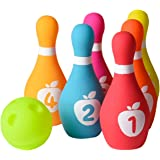 Playkidz Soft Baby Bowling Set 7-Piece Soft Bowling Game for Boys & Girls w/ Colorful Numbered Pins & Ball Safe, Great…