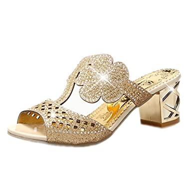 de00e6c07b388e Women Fashion High Heels Slipper Sexy Peep Toe Hollow Out Crystals Party  Shoes Woman Summer Slip On Beach Flip Flops  Amazon.co.uk  Clothing