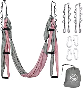 Outdoor Skye Aerial Yoga Swing - Ultra Strong Antigravity Yoga Hammock/Sling/Inversion Tool for Air Yoga Inversion Exercises - 2 Extensions Straps Included (Pink & Gray)