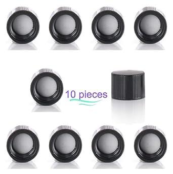 Magnakoys Black 18-400 Polycone Continuous Thread Closure Caps for Vials 18-400, Black, 100