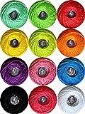 Crochet Thread Cotton Yarn Threads Balls 12 Balls Popular Rainbow Colors of Size 5 Crochet Thread Balls 130 Yards for Begingers Knitting Crochet DIY Hardanger Cross Sitch Crochet Thread Balls