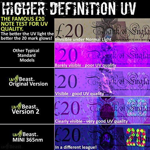 uvBeast NEW VERSION 2 - Black Light UV Flashlight with HIGH DEFINITION 100 LED with Flood Effect 385-395nm UV Best for Commercial/Domestic Use Works Even in Ambient Light - Registered Design by uvBeast (Image #4)