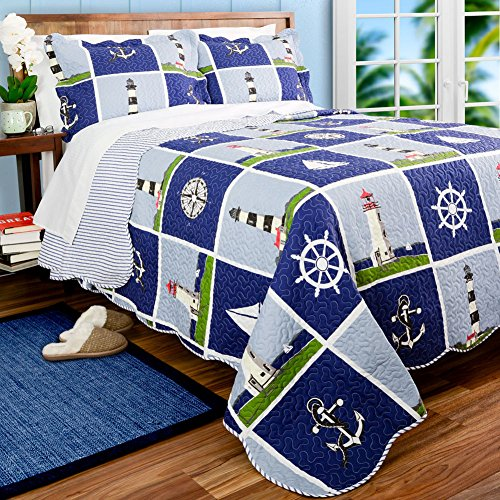 Compass Quilt - Nautical Living Lighthouse, Sailboat & Anchors King Quilt & Shams (3 Piece Bedding) + Homemade Wax MELT