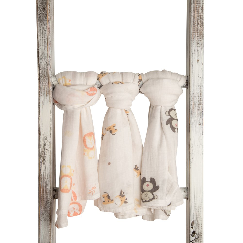 Animal Bamboo Infant Swaddle Blankets- Safari Friends -Monkey, Lion, Giraffe - Large Muslin...