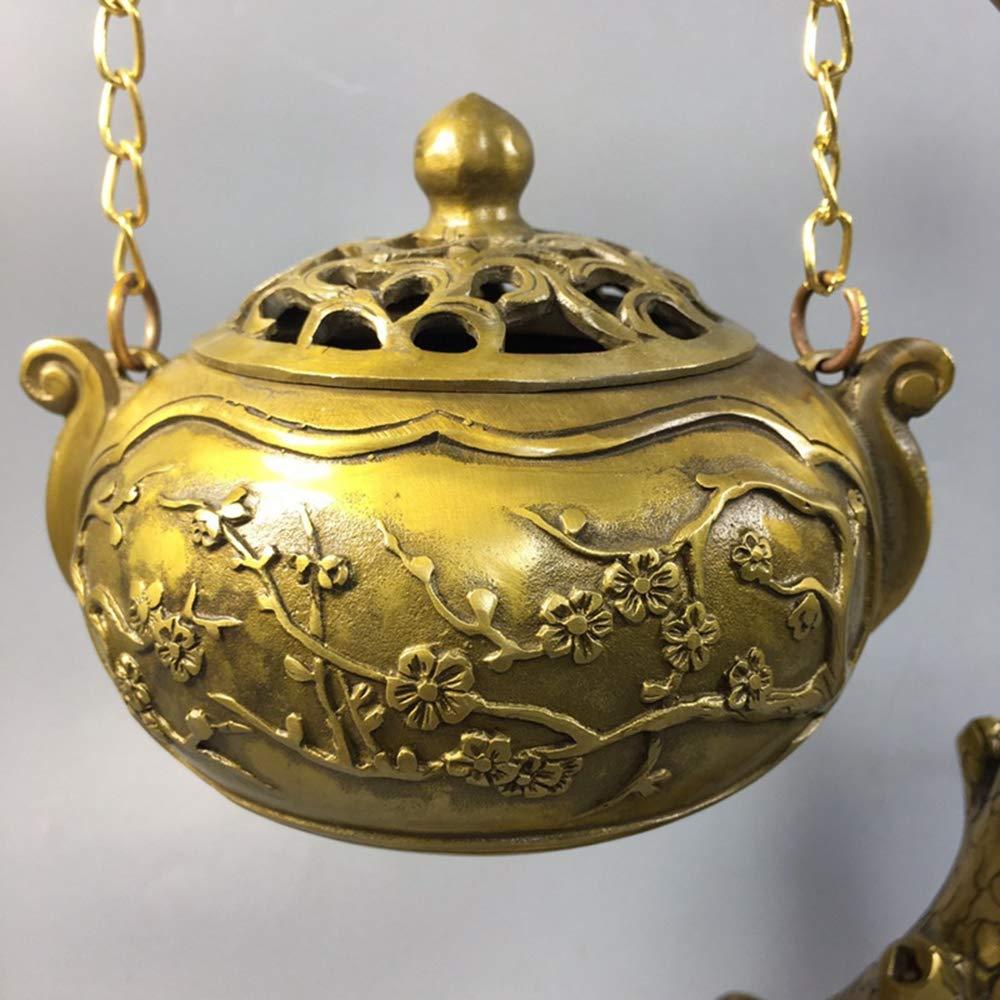 WOkismx Bruciatore di Incenso in Ottone Placcato Oro Antico Anticato Bronzo Antico Collezione di Oggetti Vari Decorazione per La Casa