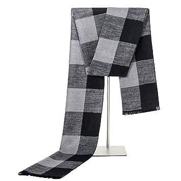 Ztweijin Diseñador de Invierno Bufanda de los Hombres de algodón a Rayas Bufanda Gruesa Mujer Masculina mantón del Abrigo de Punto Bufanda de Rayas Bufandas a Cuadros,Gris Negro: Amazon.es: Deportes y aire