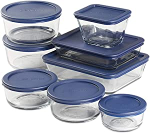 Anchor Hocking Snug Fit Food Storage, 16 Piece Set, Navy