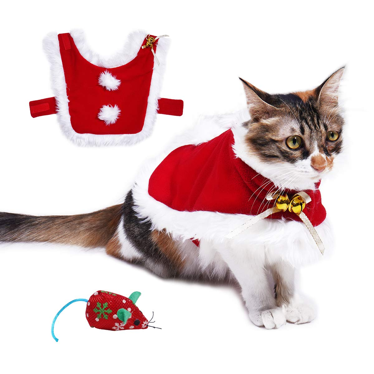 Cat Christmas Costume, Adjustable Pet Cat Santa Clothes Cloak with Bells, Puppy and Cat Xmas Claus Costumes Apparel Party Clothing Cape for Small Dogs and Cats Cosplay, Free Cat Mouse Toy Included Red) Vikedi