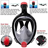Kinbom Full Face Snorkel Mask, 180°Broad Viewing Foldable Snorkeling Mask Full Face with Easy Breath Dry Top Set Anti-fog and Earplug Detachable Mount for GoPro for Adults&kids