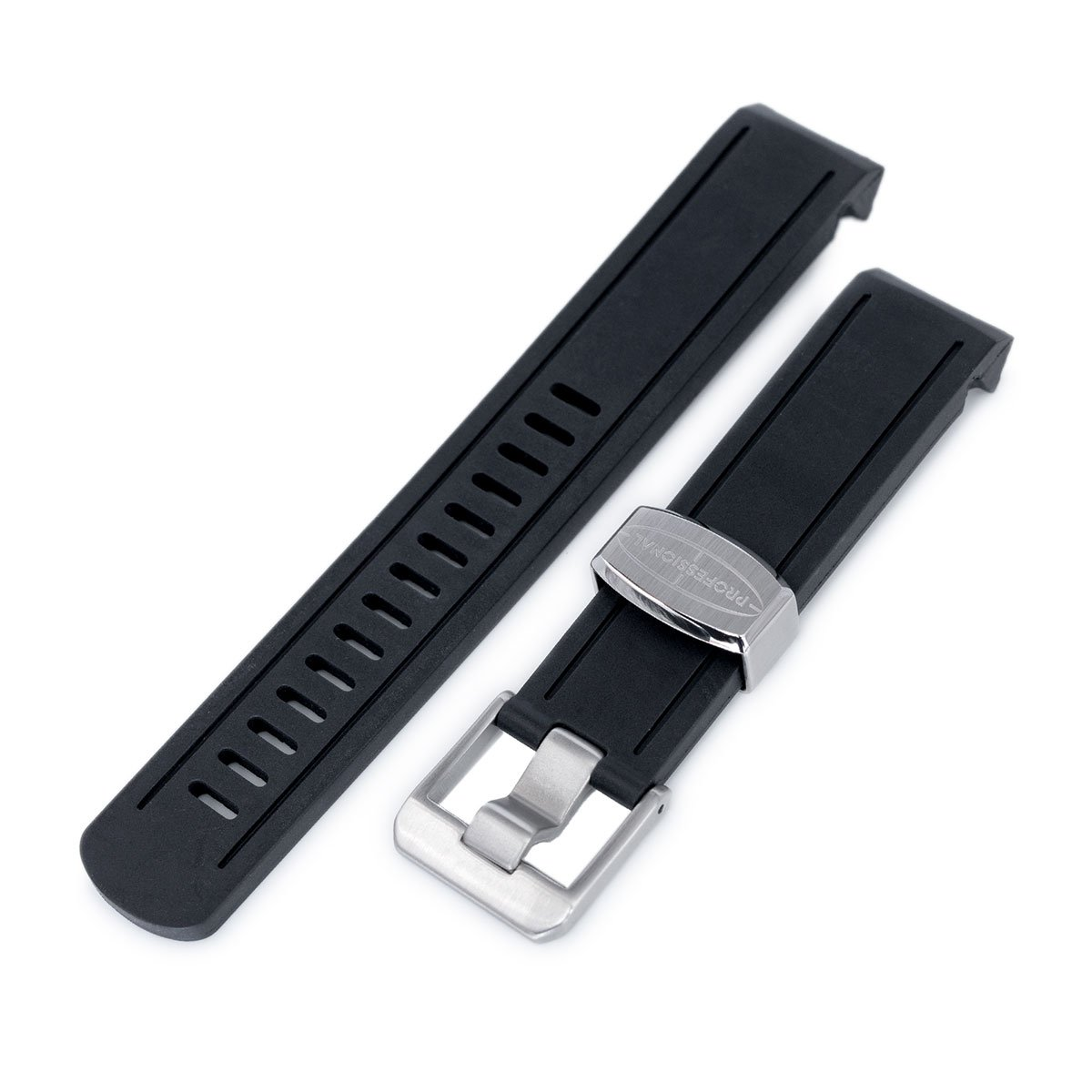 20mm Crafter Blue - Black Rubber Curved Lug Watch Band for Seiko Sumo SBDC001