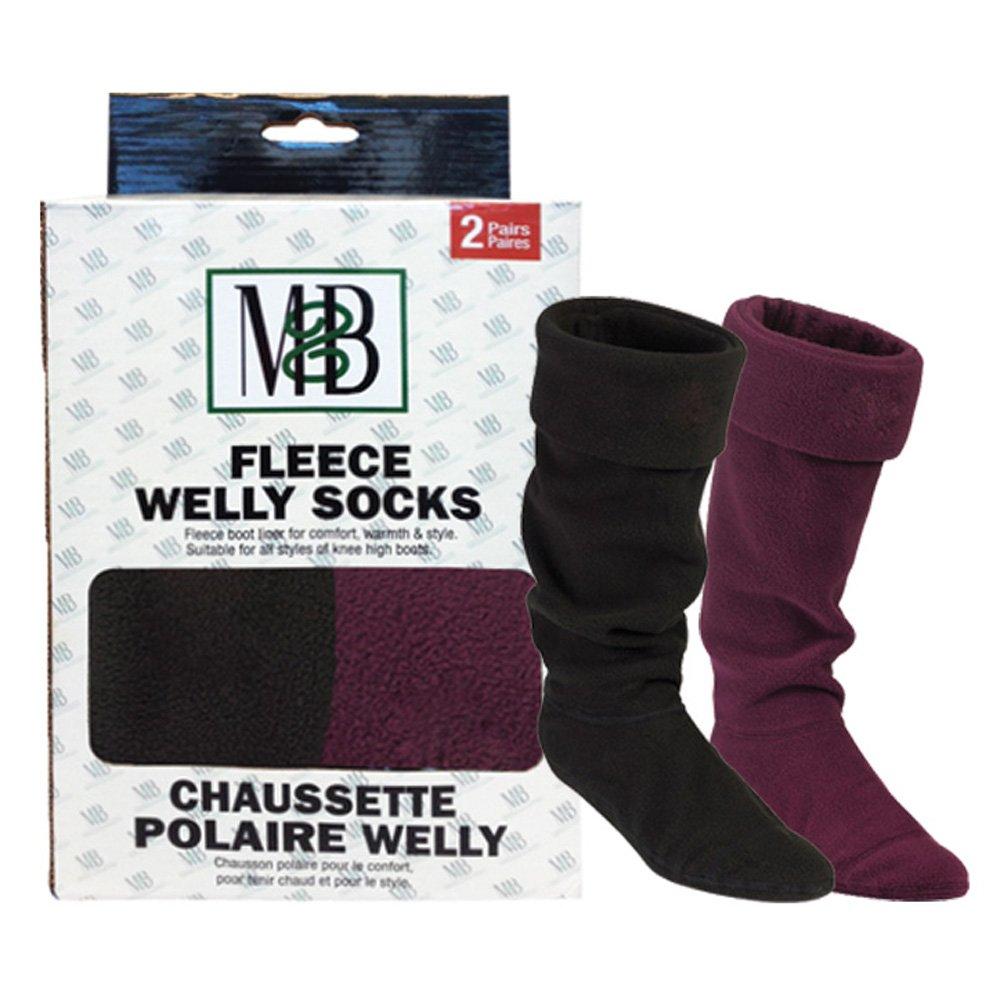 Moneysworth & Best Fleece Welly Socks - Black/Ruby - Pack of 2 - Size Medium