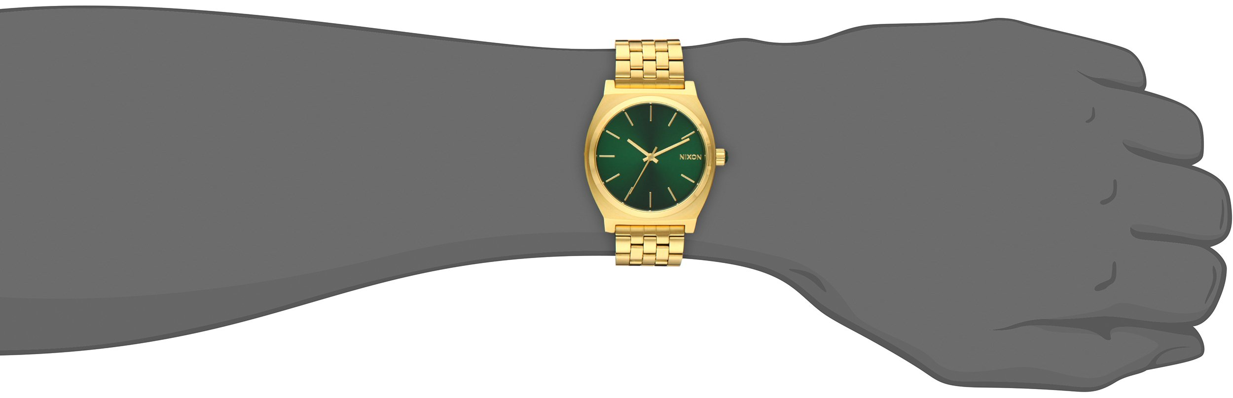 Nixon Time Teller A0451919-00. Gold and Green Women's Watch (37mm. Gold Metal Band/Green Sunray Watch Face) by NIXON (Image #2)