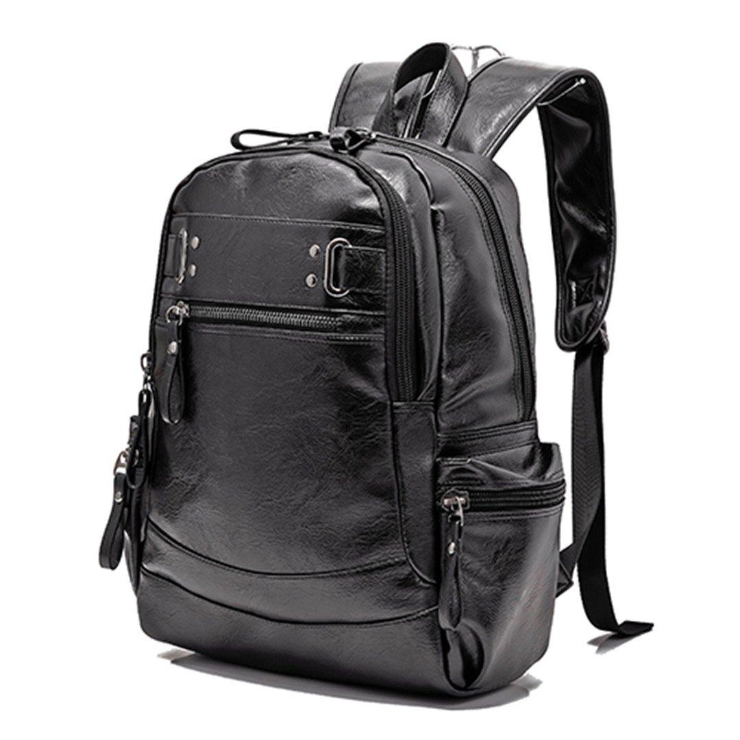 BLACK 15 Inches PU Black Leather Men's Shoulder Bags Fashion Male Business Casual Boy Vintage Men Backpack School Bag Black 15 inches