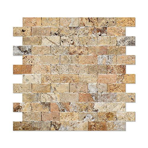 Scabos Travertine 1 X 2 Brick Mosaic