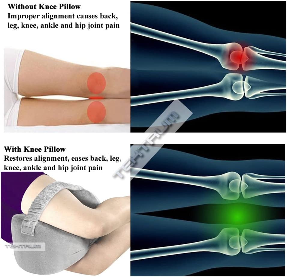 Tektrum Orthopedic Knee Pillow for Sciatica Relief Memory Foam Wedge Contour with Washable Cover and Leg Strap Hip pain Spine Alignment Grey Color Pregnancy Joint Pain Back Pain Leg Pain