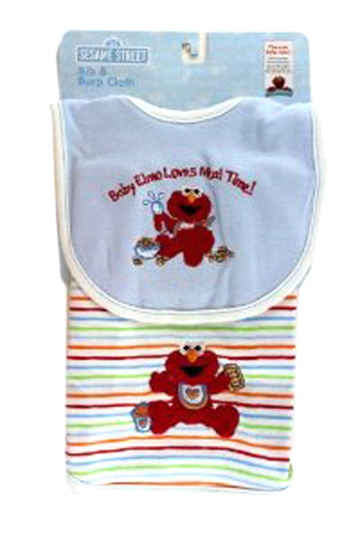 Blue Baby Elmo Loves Meal Time Bib and Burp Cloth Set