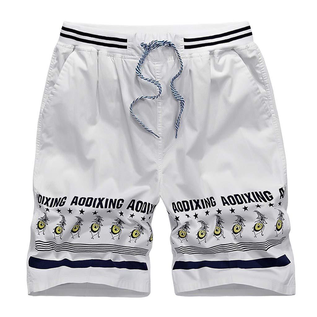 Ninasill Hot!Men's Folk Print Striped Straight Surfing Beach Shorts Large Size Tethered Sports Shorts Summer Swimming Pants White