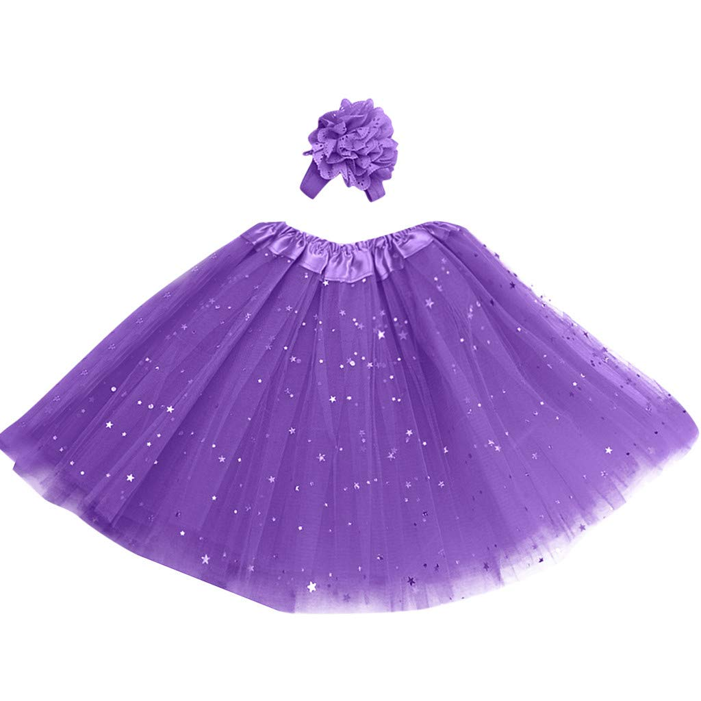 Lanhui Kids Girl Petticoat Paillette Star Tutu Skirt Pettiskirt Hair Band Dancewear (3-8 Years, Purple)