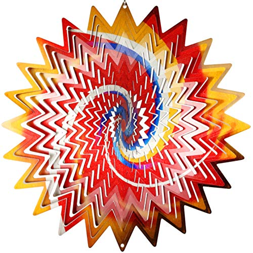 OUTOUR Colorful Spiral Stainless Steel 3D Wind Spinner Indoor Outdoor Garden Decoration Crafts Ornaments 12Inch Multi - Spinner 12 Spinners Wind Inch