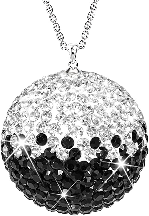 Bling Car Accessories Rear View Mirror Hanging Crystal Ball Rhinestones Mirror Charm for Women,Black