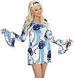 Widmann 70er Jahre Lady Retro Kostüm - Hippie Partykleid mit Haarband - Blau