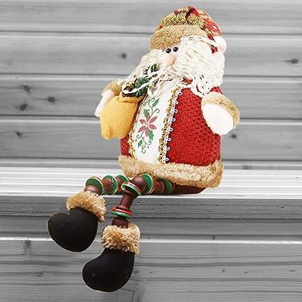 christmas decorations sitting father christmas santa claus snowman figure plush toy doll christmas party tree hanging - Christmas Shelf Decorations
