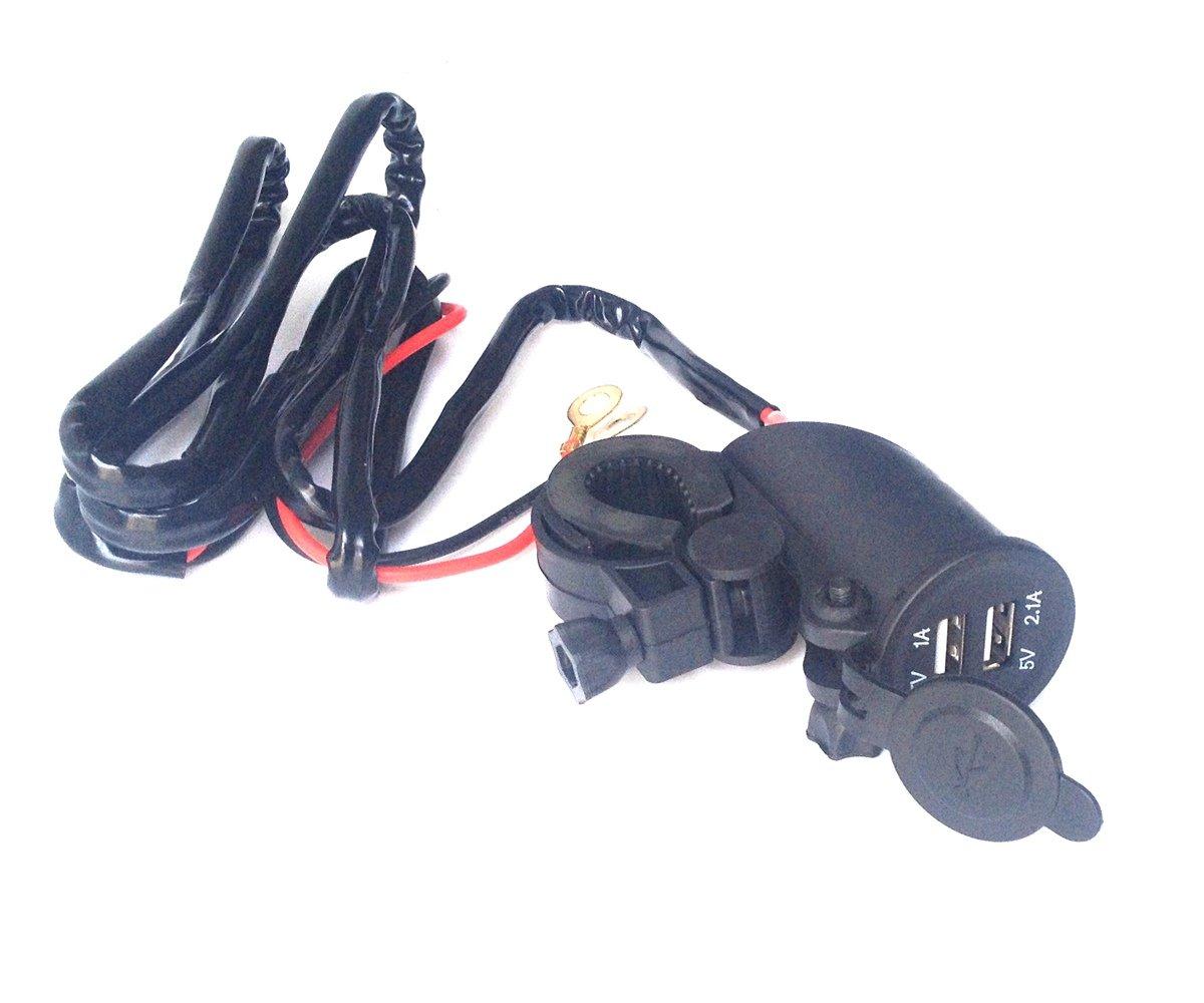 Motorcycle Waterproof Dual USB Phone Charger Motorbike Handlebar GPS 12V Power Supply 2.1A ZiLai COMINU018753