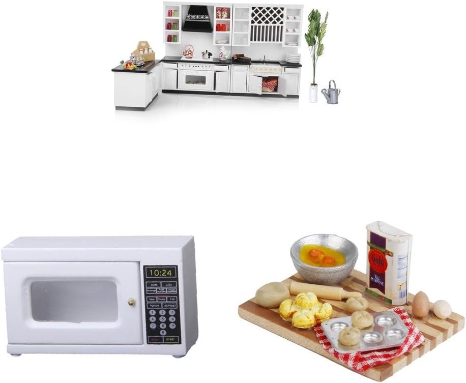Sharplace 1/12 Mini Accesorios Juegos de la Casa de Muñeca con Armario, Tablero de Alimentos, Horno de Microondas