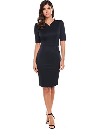 HOTOUCH Women Notch Neck Half Sleeve Business Bodycon Pencil Dress