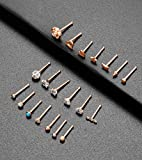 Tornito 20G 20Pcs Nose Ring CZ Nose Stud Retainer