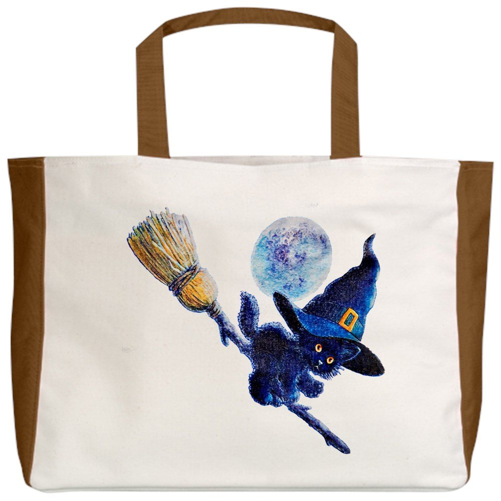 2-Sided Royal Lion Beach Tote Halloween Kitten Witch Broom Moon