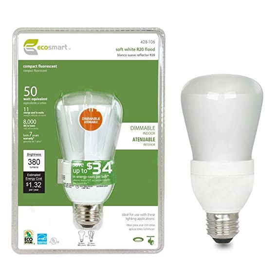 EcoSmart 50W Equivalent 2700K R20 Dimmable CFL Light Bulb, Soft White - Compact Fluorescent Bulbs - Amazon.com
